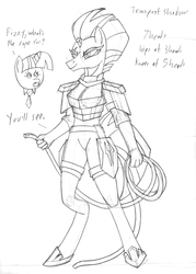 Size: 2550x3560 | Tagged: anthro, armor, artist:supra80, breasts, broken horn, clothes, eye scar, female, fizzlepop berrytwist, grayscale, horn, implied bondage, implied lesbian, implied tempestlight, monochrome, my little pony: the movie, rope, safe, scar, solo, storm king's emblem, tempest shadow, twilight sparkle, unguligrade anthro, unicorn