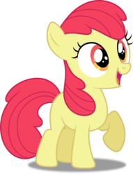 Size: 3409x4466 | Tagged: accessory-less edit, apple bloom, artist:dashiesparkle, earth pony, edit, editor:slayerbvc, female, filly, missing accessory, pony, raised hoof, safe, simple background, solo, somepony to watch over me, transparent background, vector, vector edit