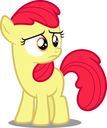 Size: 3761x4476 | Tagged: accessory-less edit, apple bloom, artist:dashiesparkle, earth pony, edit, editor:slayerbvc, female, filly, missing accessory, pony, safe, simple background, sleepless in ponyville, solo, transparent background, vector, vector edit, worried