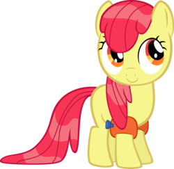 Size: 7479x7255 | Tagged: absurd res, accessory-less edit, apple bloom, artist:jailboticus, earth pony, edit, editor:slayerbvc, female, filly, leap of faith, missing accessory, pony, safe, simple background, solo, transparent background, vector, vector edit, water wings, wet mane