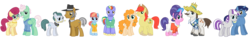 Size: 4727x723 | Tagged: safe, bow hothoof, bright mac, cloudy quartz, cookie crumbles, gentle breeze, hondo flanks, igneous rock pie, night light, pear butter, posey shy, twilight velvet, windy whistles, pony, brightbutter, clothes, cookieflanks, dad six, female, glasses, hat, husband and wife, looking at you, male, mom six, nightvelvet, pants, parents six, quartzrock, shipping, shirt, shorts, shys, simple background, smiling, straight, sweater, transparent background, vector, windyhoof