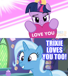 Size: 1280x1432   Tagged: safe, artist:ponies in reverse, edit, trixie, twilight sparkle, pony, cute, diatrixes, female, lesbian, library, shipping, twiabetes, twilight's castle, twilight's castle library, twixie