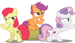 Size: 10982x6428 | Tagged: absurd res, accessory-less edit, apple bloom, artist:jhayarr23, charlie's angels, cutie mark, cutie mark crusaders, edit, editor:slayerbvc, female, filly, hard to say anything, mare, missing accessory, pony, safe, scootaloo, serious, serious face, shimmering spectacles, simple background, sweetie belle, the cmc's cutie marks, transparent background, trio, vector, vector edit
