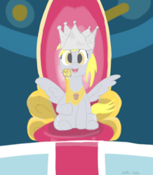 Size: 1200x1376 | Tagged: artist:addelum, crown, derpy hooves, female, hard-won helm of the sibling supreme, jewelry, mare, pegasus, pony, regalia, safe, solo, sparkle's seven, throne