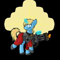 Size: 1500x1500 | Tagged: safe, artist:yognaughtsteve, oc, oc:skydreams, pony, unicorn, adepta sororitas, heavy flamer, simple background, solo, transparent background, warhammer (game), warhammer 40k