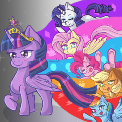 Size: 1000x1000 | Tagged: alicorn, applejack, artist:kingkero, big crown thingy, cutie mark, earth pony, element of magic, female, fluttershy, jewelry, mane six, mare, one eye closed, open mouth, pegasus, pinkie pie, pony, rainbow dash, rarity, regalia, safe, twilight sparkle, twilight sparkle (alicorn), unicorn, wink