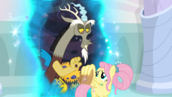 Size: 1920x1080 | Tagged: discord, fluttershy, lunch bag, older, older fluttershy, portal, safe, screencap, spoiler:s09e26, the last problem, wave, wing hands, wings