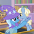 Size: 604x603 | Tagged: safe, screencap, trixie, water spout, pegasus, pony, unicorn, the ending of the end, spoiler:s09e24, animation error, colt, concerned, cropped, duo, eye contact, female, friendship student, helping, holding a pony, looking at each other, male, mare, school of friendship, smiling