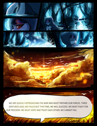 Size: 2318x3000 | Tagged: safe, artist:aquagalaxy, twilight sparkle, bird, pony, comic:a forgotten tragedy, cloud, comic, dialogue, female, forest, hood, mare, red eyes, shadowed memories, walking