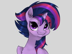 Size: 2048x1536   Tagged: safe, artist:siripim111, twilight sparkle, alicorn, pony, alternate hairstyle, bust, chest fluff, cute, ear fluff, female, looking at you, punklight sparkle, simple background, smiling, solo, twiabetes, twilight sparkle (alicorn), white background, wing fluff