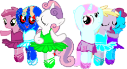 Size: 958x521 | Tagged: safe, artist:angrymetal, dinky hooves, ruby pinch, sweetie belle, oc, oc:angrymetal, oc:ballet star, pony, arms in the air, arms out, ballerina, ballerinas, ballet, ballet slippers, clothes, en pointe, needs more jpeg, pincherina, simple background, sweetiebetes, sweetierina, transparent background, tutu, tutus