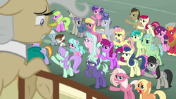 Size: 1920x1080 | Tagged: safe, screencap, amber grain, beachcomber (g4), berry blend, berry bliss, berry punch, berryshine, big macintosh, bon bon, coral currents, daisy, doctor whooves, flower wishes, fuchsia frost, granny smith, high tide (g4), lily, lily valley, maud pie, mayor mare, mudbriar, night view, octavia melody, pipsqueak, roseluck, sandbar, silver spoon, slate sentiments, sugar belle, sugar stix, sweetie drops, tender brush, time turner, winter lotus, earth pony, pony, unicorn, the ending of the end, angry, background pony, colt, crowd, female, filly, friendship student, male, mare, maud being maud, ponyville, stallion