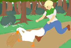 Size: 3400x2300 | Tagged: applejack, artist:mrcakesboi, bird, equestria girls, female, goose, honk, human, running, safe, stealing, the goose, untitled goose game, wild goose chase