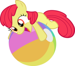 Size: 5779x5103 | Tagged: safe, artist:abion47, edit, editor:slayerbvc, vector edit, apple bloom, earth pony, pony, pinkie apple pie, absurd resolution, accessory-less edit, adorabloom, beach ball, cute, female, filly, missing accessory, simple background, solo, transparent background, vector