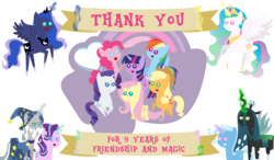 Size: 3296x1921 | Tagged: applejack, artist:sketchmcreations, banner, fluttershy, happy birthday mlp:fim, magic, mane six, mane six opening poses, mlp fim's ninth anniversary, my little pony logo, pinkie pie, pointy ponies, pony, princess celestia, princess luna, queen chrysalis, rainbow dash, rarity, royal sisters, safe, simple background, starlight glimmer, star swirl the bearded, telekinesis, transparent background, trixie, twilight sparkle, vector