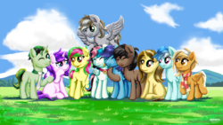 Size: 9350x5287 | Tagged: artist:alphatea, caption, closed eye, cloud, earth pony, female, flying, friendship, grass field, image macro, indonesia, indonesian, looking each other, male, mare, midday, mountain, necktie, oc, oc:alpha tea, oc:coffee latia latte, oc:echy, oc:lockheart, oc:mewy, oc:oulie mareota, oc:pradashie, oc:raxella gessu, oc:rivin, oc:sierra nightingale, one eye closed, pegasus, pony, safe, scenery, sitting, sky, smilling, stallion, standing, text, unicorn, wings, wink
