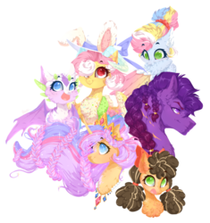 Size: 844x898 | Tagged: artist:rossignolet, chest fluff, crown, draconequus, dracony, ear fluff, earth pony, group, hat, hybrid, interspecies offspring, jewelry, next generation, offspring, parent:cheese sandwich, parent:discord, parent:flash sentry, parent:fluttershy, parent:pinkie pie, parent:rainbow dash, parent:rarity, parents:cheesepie, parents:discoshy, parents:flashlight, parent:soarin', parent:spike, parents:soarindash, parents:sparity, parent:twilight sparkle, pegasus oc, pigtails, pony, regalia, safe, simple background, sparkles, transparent background