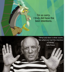Size: 2032x2245 | Tagged: safe, edit, edited screencap, screencap, discord, human, the ending of the end, caption, discord drama, image macro, irl, irl human, pablo picasso, photo, quote, sad, text