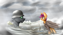 Size: 1920x1080 | Tagged: army, artist:richmay, changeling, clothes, equestria at war mod, gritted teeth, helmet, military, military uniform, oc, older, older scootaloo, panzerfaust, safe, scootaloo, uniform, war