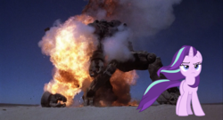 Size: 800x433   Tagged: safe, edit, starlight glimmer, pony, robot, unicorn, the ending of the end, spoiler:s09e24, spoiler:s09e25, badass, cool guys don't look at explosions, female, frown, giant robot, lidded eyes, mare, mech, mecha, robot jox, starlight glimmer in places she shouldn't be, walking away from explosion