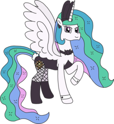 Size: 1806x1964 | Tagged: alicorn, artist:supahdonarudo, bowtie, bunny ears, bunnylestia, bunny suit, clothes, cuffs (clothes), derpibooru exclusive, edit, fishnets, pony, princess celestia, raised hoof, safe, simple background, transparent background