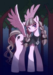 Size: 566x800 | Tagged: safe, artist:unousaya, inky rose, pegasus, pony, clothes, digital art, female, mare, solo, tree