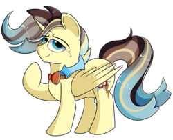 Size: 1280x1039 | Tagged: alicorn, alicorn oc, artist:rainbowtashie, bowtie, braeburn, commissioner:bigonionbean, doctor whooves, fusion, fusion:king righteous authority, male, oc, oc:king righteous authority, pony, prince blueblood, royalty, safe, solo, stallion, time turner, wind waker (character)