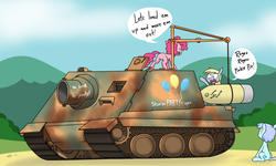 Size: 1758x1054 | Tagged: artist:sandwich-anomaly, derpy hooves, earth pony, female, mare, pegasus, pinkie pie, pony, safe, sturmtiger, tank (vehicle)