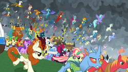 Size: 1920x1080 | Tagged: amethyst star, autumn blaze, awesome, big macintosh, billy (dragon), blaze, carapace (character), chancellor neighsay, changedling, changeling, chief thunderhooves, clothes, clump, crystal pony, dragon, endgame, equestria assemble, everycreature, everyone is here, everypony, evil grin, final battle, firelight, fizzlepop berrytwist, flam, fleetfoot, flim, fume, gabby, garble, gilda, grampa gruff, greta, griffon, grin, hippogriff, king thorax, kirin, lemon hearts, little strongheart, lyra heartstrings, minuette, moondancer, night light, party favor, pharynx, prince pharynx, prince rutherford, princess ember, rain shine, ruby love, safe, scarlet heart, screencap, seaspray, sky beak, smiling, soarin', sparkler, spear (dragon), spiracle, spitfire, spoiler:s09e24, spoiler:s09e25, stellar flare, sunburst, surprise, tempest shadow, terramar, the ending of the end, thorax, trixie, twilight velvet, uniform, wind waker (character), wonderbolts uniform, zecora