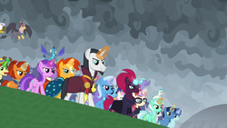 Size: 1920x1080 | Tagged: >:), amethyst star, awesome, badass, chancellor neighsay, dragon, endgame, equestria assemble, everycreature, everyone is here, evil grin, firelight, fizzlepop berrytwist, flam, gilda, grampa gruff, grin, hippogriff, lemon hearts, lyra heartstrings, minuette, moondancer, night light, party favor, princess ember, safe, screencap, seaspray, smiling, sparkler, spoiler:s09e24, spoiler:s09e25, stellar flare, sunburst, tempest shadow, terramar, the ending of the end, trixie, twinkleshine, unicorn