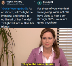Size: 1358x1257 | Tagged: safe, bronycon, harsher in hindsight, implied twilight sparkle, meghan mccarthy, meme, meta, pam beesly, the office, twitter