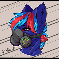 Size: 1900x1877 | Tagged: alternate hairstyle, artist:ilona furry, blue fur, fanfic art, foal, gas mask, implied pegasus, male, mask, oc, oc:hellfire, oc only, pony, post-apocalyptic, raider, red eyes, safe, solo