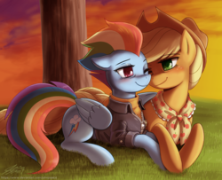 Size: 2000x1621 | Tagged: alternate hairstyle, appledash, applejack, applejack's hat, artist:johnjoseco, clothes, cowboy hat, duo, earth pony, female, granny smith's scarf, hat, hug, lesbian, mare, older, older applejack, older rainbow dash, pegasus, pony, prone, rainbow dash, safe, shipping, smiling, spoiler:s09e26, the last problem, winghug