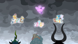 Size: 1920x1080 | Tagged: safe, edit, edited screencap, screencap, applejack, cozy glow, flash magnus, fluttershy, gallus, lord tirek, meadowbrook, mistmane, ocellus, pinkie pie, queen chrysalis, rainbow dash, rarity, rockhoof, sandbar, silverstream, smolder, somnambula, spike, star swirl the bearded, twilight sparkle, yona, alicorn, dragon, the ending of the end, spoiler:s09e24, spoiler:s09e25, mane seven, mane six, now you fucked up, pillars of equestria, student six, twilight sparkle (alicorn), winged spike
