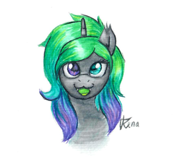 Size: 872x806 | Tagged: artist:renaphin, changeling, heterochromia, marker drawing, oc, oc:hazy, pony, safe, sharp teeth, solo, teeth, traditional art