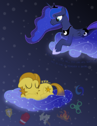 Size: 2600x3350 | Tagged: alicorn, artist:devfield, blue eyes, cloud, crown, cutie mark, dialogue, dream, dream realm, dream walker luna, duo, earth pony, ethereal mane, eyes closed, female, floppy ears, fog, folded wings, glow, gradient background, grin, happy birthday mlp:fim, jewelry, lidded eyes, looking down, mare, mlp fim's ninth anniversary, oc, oc:clear sky, oc:cottonwood kindle, oc:fidget, oc:golden star, oc:huracata, oc:osha, oc:uppercute, onomatopoeia, pony, princess luna, prone, reaching, regalia, safe, show accurate, sky, sleeping, smiling, sound effects, starry mane, stars, two toned mane, two toned tail, wings, zzz