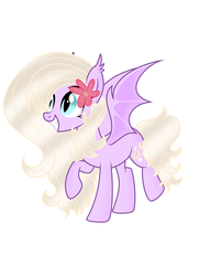 Size: 3583x4961 | Tagged: artist:riofluttershy, bat, bat pony, bat pony oc, bat wings, flower, flower in hair, grin, oc, oc:vimpira, raised hoof, safe, smiling, wings