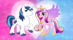 Size: 5360x3008 | Tagged: safe, artist:andoanimalia, princess cadance, shining armor, alicorn, unicorn, cutie mark, female, husband and wife, male, shiningcadance, shipping, smiling, straight, wallpaper