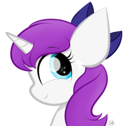 Size: 1091x1088 | Tagged: artist:sugarcloud12, bow, bust, female, hair bow, mare, oc, oc:solia moon, pony, portrait, safe, simple background, solo, transparent background, unicorn