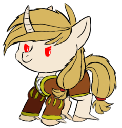 Size: 482x507 | Tagged: artist:uncreative, clothes, curved horn, doublet, horn, oc, oc:regal inkwell, pony, safe, smol, unicorn, unshorn fetlocks