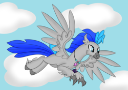 Size: 7016x4961 | Tagged: absurd resolution, artist:syncedsart, base used, classical hippogriff, clip studio paint, cloud, cute, digital art, drawing, fullbody, gift art, hippogriff, hippogriff oc, male, oc, oc:messier, oc only, safe, simple background, sky, solo