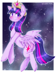Size: 581x747 | Tagged: alicorn, artist:divided-s, big crown thingy, cute, element of magic, female, jewelry, mare, pixiv, pony, regalia, safe, solo, twiabetes, twilight sparkle, twilight sparkle (alicorn)