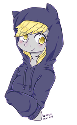 Size: 425x684 | Tagged: artist:divided-s, blushing, bust, clothes, cute, derpabetes, derpy hooves, eyebrows visible through hair, eye clipping through hair, female, hoodie, mare, pixiv, pony, safe, simple background, solo, white background
