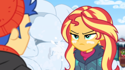 Size: 1164x655   Tagged: safe, screencap, flash sentry, sunset shimmer, equestria girls, equestria girls series, holidays unwrapped, saving pinkie's pie, spoiler:eqg series (season 2), clothes, plusplus, warface, winter outfit
