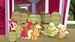 Size: 1920x1080 | Tagged: safe, screencap, apple bloom, applejack, big macintosh, goldie delicious, granny smith, winona, dog, earth pony, going to seed, apple, barrel, food, rocking chair