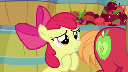 Size: 1280x720   Tagged: safe, screencap, apple bloom, big macintosh, going to seed, spoiler:s09e10, apple, barrel, food