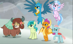 Size: 1547x938 | Tagged: safe, screencap, gallus, ocellus, sandbar, silverstream, smolder, yona, changedling, changeling, classical hippogriff, dragon, earth pony, griffon, hippogriff, pony, yak, the ending of the end, bow, cloven hooves, colored hooves, cropped, cute, diaocelles, diastreamies, dragoness, female, flying, group, hair bow, jewelry, magic, male, monkey swings, necklace, proud, sandabetes, shield, smiling, smug, student six, teenager