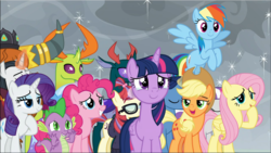 Size: 1669x941 | Tagged: safe, screencap, applejack, chancellor neighsay, fluttershy, moondancer, night light, pharynx, pinkie pie, prince rutherford, rainbow dash, rarity, spike, thorax, trixie, twilight sparkle, twilight velvet, alicorn, changedling, changeling, dragon, earth pony, pegasus, unicorn, yak, the ending of the end, spoiler:s09e24, spoiler:s09e25, cropped, crying, group, king thorax, mane six, prince pharynx, twilight sparkle (alicorn), winged spike