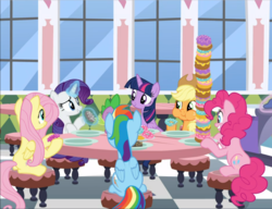 Size: 1221x939   Tagged: safe, screencap, applejack, fluttershy, pinkie pie, rainbow dash, rarity, spike, twilight sparkle, alicorn, dragon, earth pony, pegasus, pony, unicorn, the ending of the end, applejack's hat, cowboy hat, cropped, donut, donut shop, eating, female, food, freckles, glowing horn, group, hat, horn, levitation, looking at each other, magic, male, mane six, mare, puffy cheeks, sitting, table, telekinesis, twilight sparkle (alicorn)
