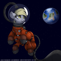 Size: 3000x3000 | Tagged: artist:hitbass, artist:rexyseven, artist:skitsniga, astronaut, collaboration, derpy hooves, earth, female, floppy ears, mare, pegasus, pony, safe, smiling, solo, space, spacesuit